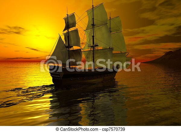Ship at Sunset - csp7570739