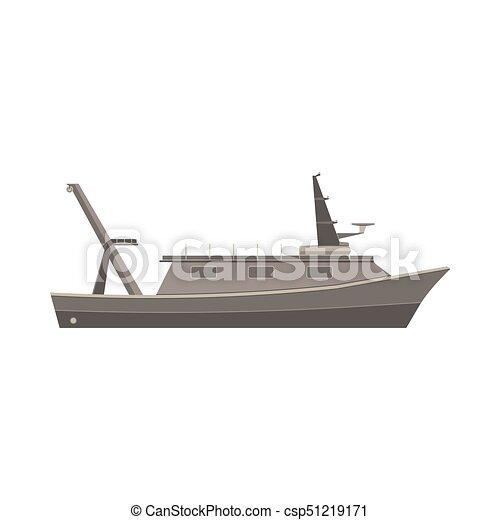 Ship boat vector flat design vessel illustration sea yacht isolated cruise icon large marine side - csp51219171