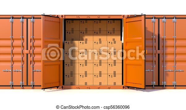 Ship cargo container side view full with cardboard boxes
