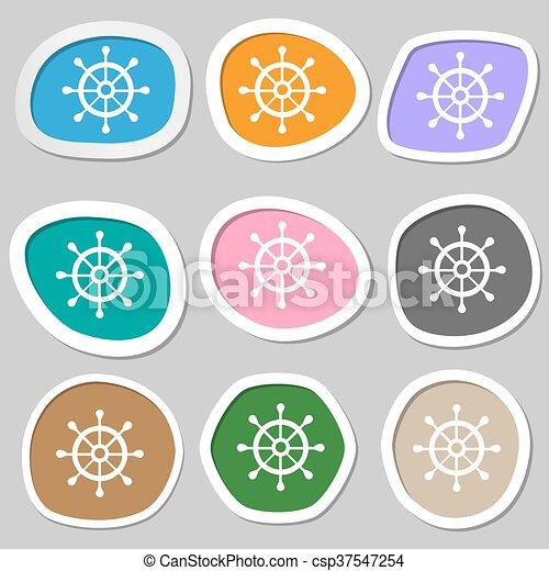 ship helm symbols. Multicolored paper stickers. Vector - csp37547254