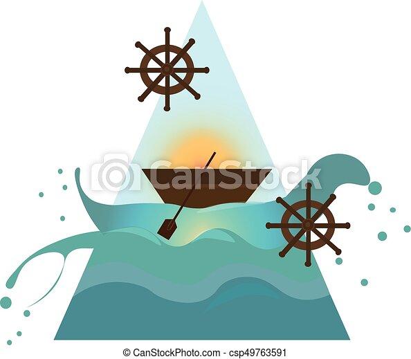 Ship in the sea. Nautical maritimal theme Vector - csp49763591