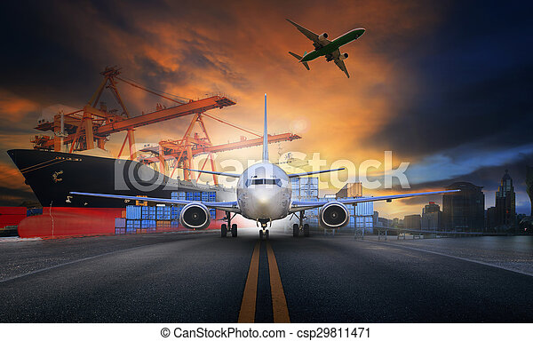 ship loading container in import - export pier and air cargo plane approach in airport use for transport and freight logistic business industry background - csp29811471
