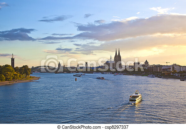 ship on river Rhein by Cologne - csp8297337