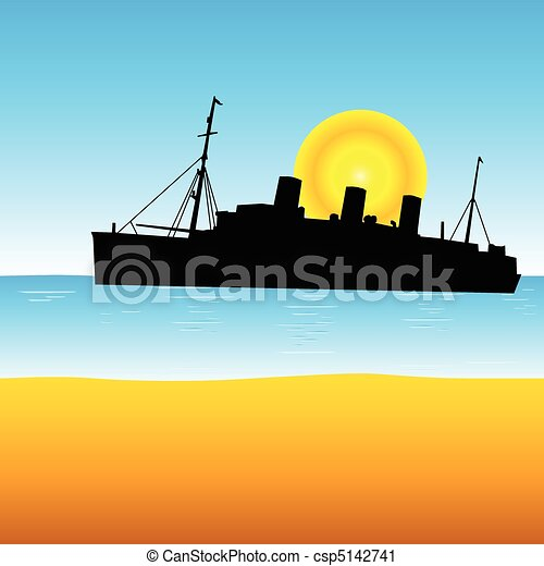 ship on the ocean vector illustrati - csp5142741