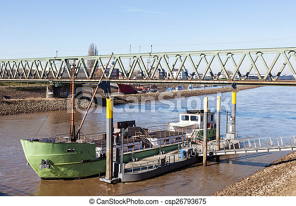 Ship on the Weser river in Bremen, Germany - csp26793675