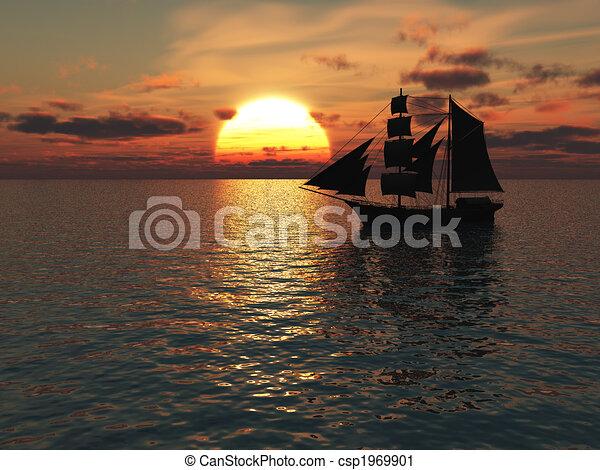 Ship out at sea at sunset. - csp1969901
