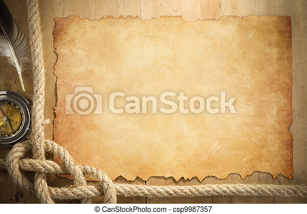 ship ropes and compass at parchment old paper - csp9987357