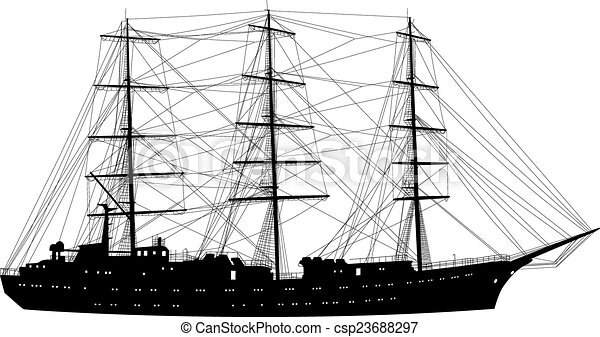 Ship sailing boat silhouette isolated on white background. Vecto - csp23688297