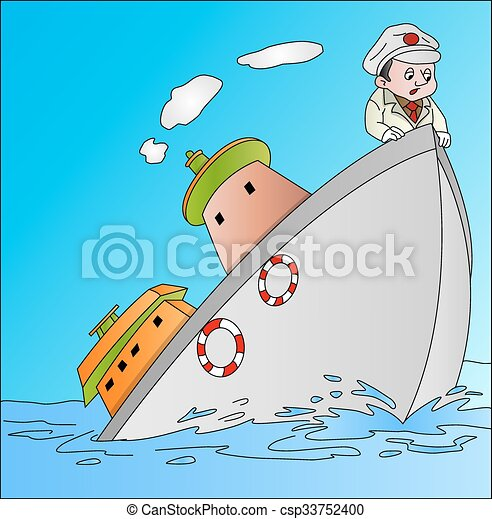 Ship Sinking with Captain, illustration - csp33752400