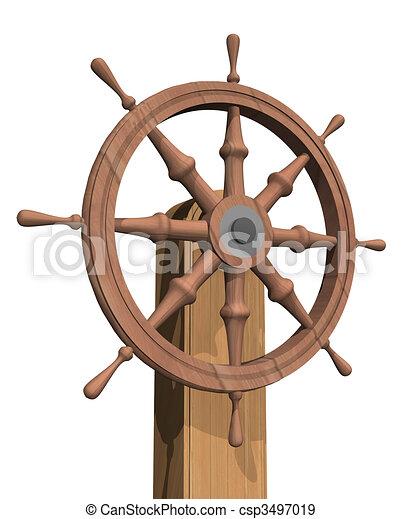 Ship Steering Wheel Stock Illustration