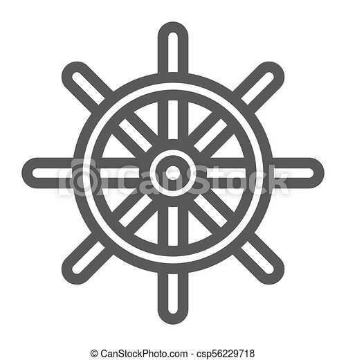ship steering wheel line icon navigator and geography travel sign vector graphics a linear pattern on a white background https www canstockphoto com ship steering wheel line icon navigator 56229718 html