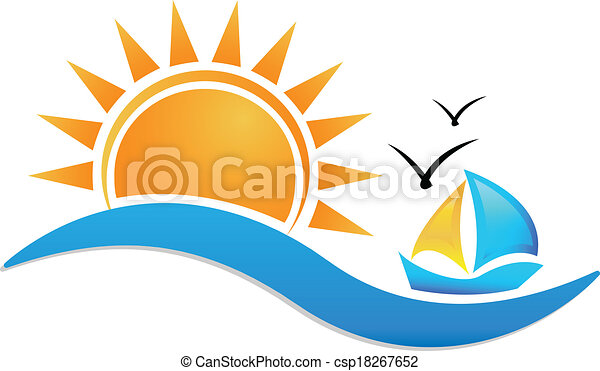 ship sun and sea icon logo sunset beach vector icon clipart rh canstockphoto com  palm tree sunset clipart free