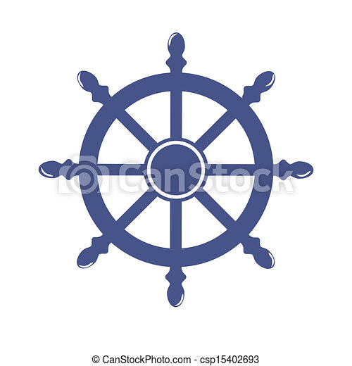Ship Wheel Banner isolated on white background. Vector Illustration - csp15402693