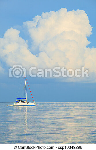 ship yatch and sea with white cloud - csp10349296