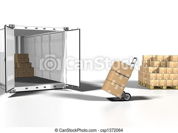 shipping box and container on white bacground - csp1372064