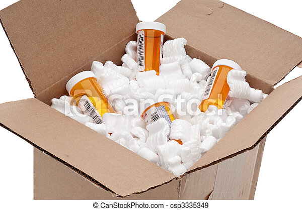 Shipping box of imported medication - csp3335349
