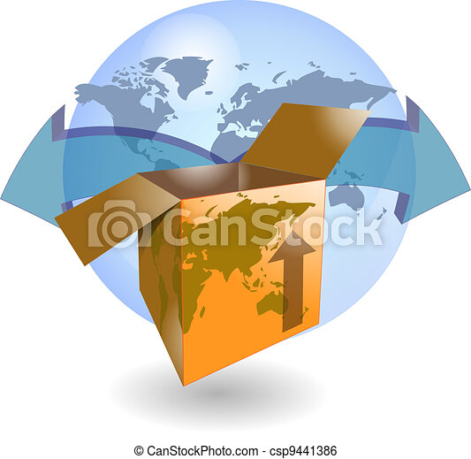 Shipping box with world map - csp9441386