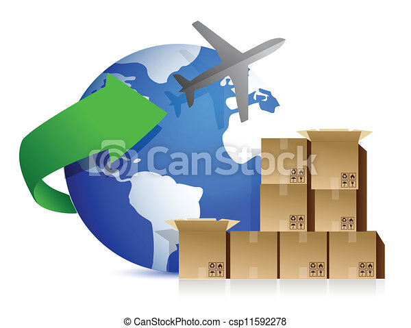 shipping boxes and plane - csp11592278