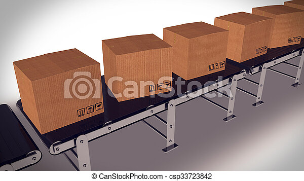 Shipping Boxes On A Conveyor Belt/ Shipping Merchandise. - csp33723842