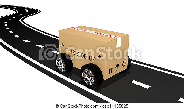 Shipping cardboard on the road  - csp11155825