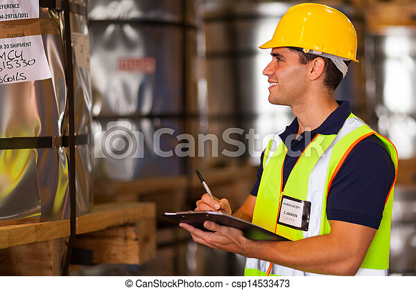 shipping company worker recording steel rolls - csp14533473