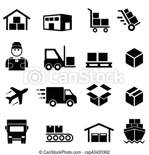 Shipping, distribution, cargo and logistics icons - csp43420362