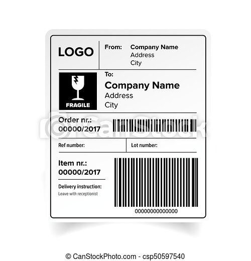 Shipping Label Barcode Template Vector Eps Vector  Search Clip Art