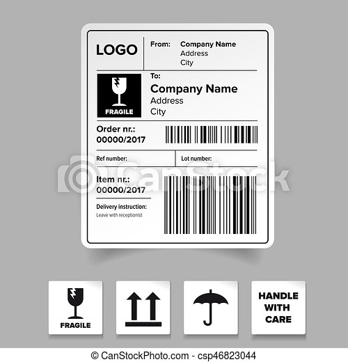 Shipping Label Template Shipping Label Sticker Template  Eps