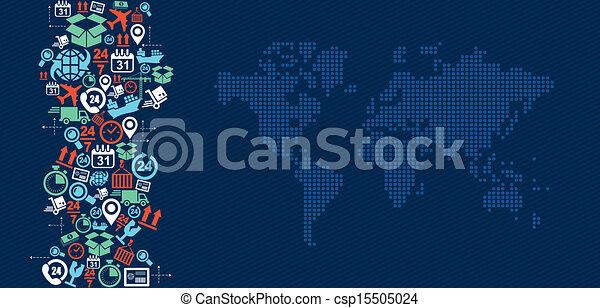 Shipping logistics world map icons splash illustration. - csp15505024