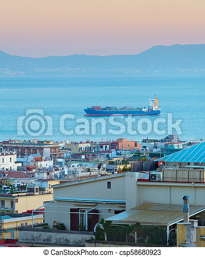 Shipping tanker in Italy city - csp58680923