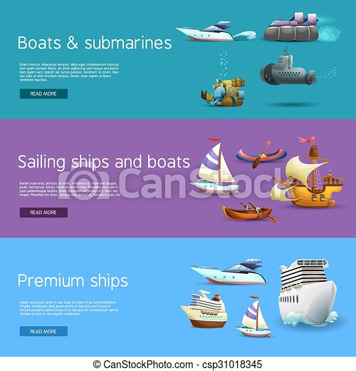 Ships And Boats Banners Set - csp31018345