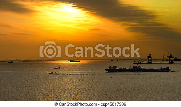 Ships at sunset on the sea - csp45817306
