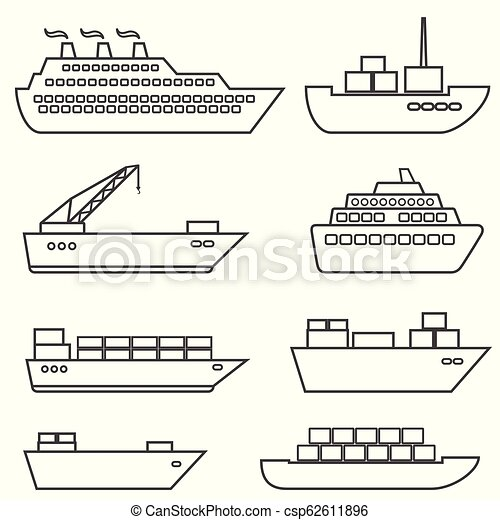 Ships, boats, cargo, logistics, transportation and shipping line icons - csp62611896
