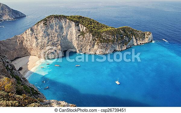Shipwrech at Navagio beach, Zakinthos, Zante, Zakynthos - csp26739451