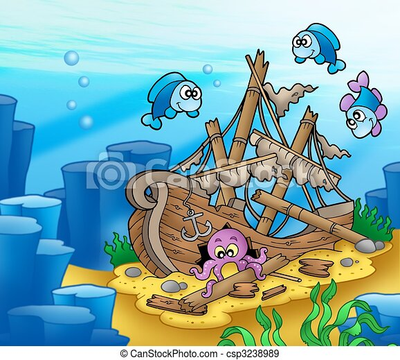 shipwreck with octopus and fishes color illustration rh canstockphoto com shipwreck clipart free animated shipwreck clipart