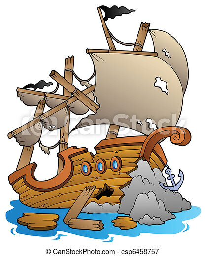 shipwreck with rocks vector illustration rh canstockphoto com shipwreck clipart free Cartoon Shipwreck