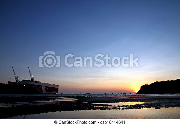 Shipyard sea in the evening. - csp18414641