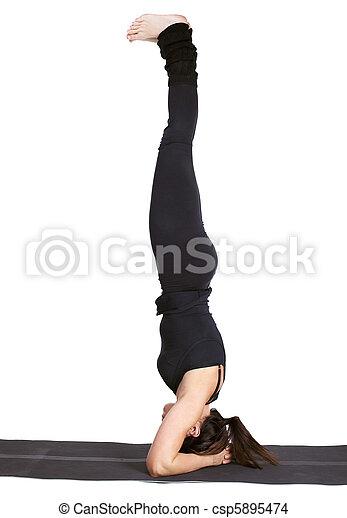 shirshasana ioga excercising bonito supported cabeça