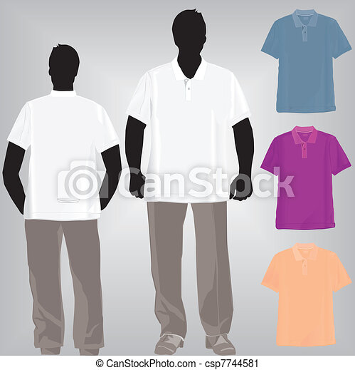 Shirt Polo Or Tshirt Template With Collar And Pant