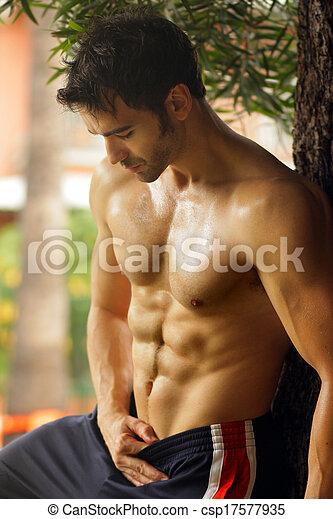 shirtless, caldo, tipo - csp17577935