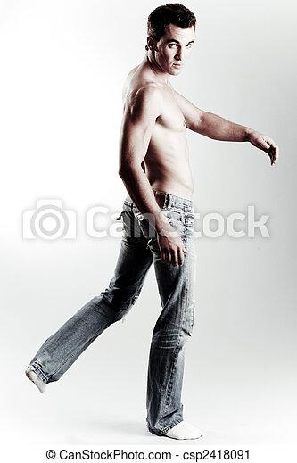 Shirtless causal male model - csp2418091
