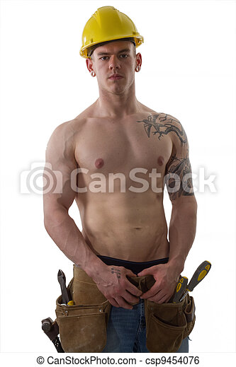 Shirtless Construction worker with  - csp9454076