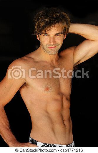 shirtless, felice, uomo - csp4774216