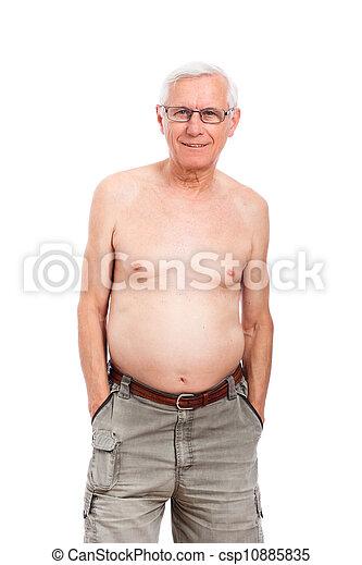 shirtless, felice, uomo senior - csp10885835