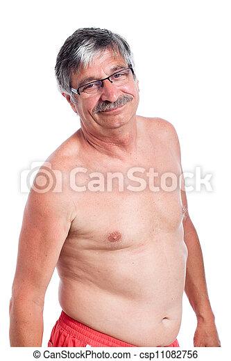 shirtless, felice, uomo senior - csp11082756