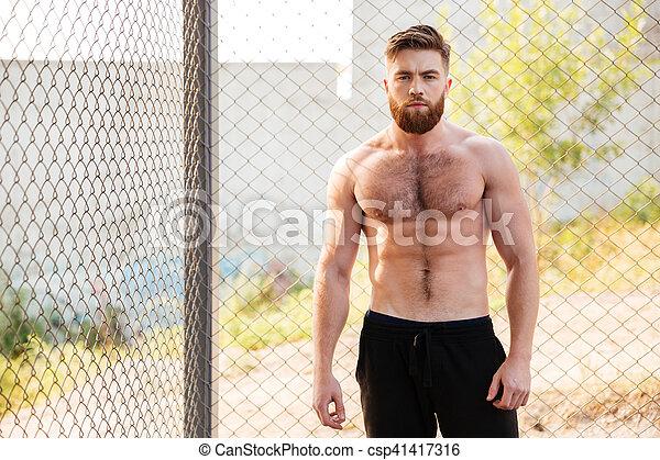 shirtless, fuori, idoneità, durante, uomo, allenamento, bello - csp41417316