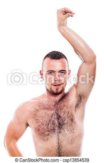 Shirtless hairy man posing - csp13854539