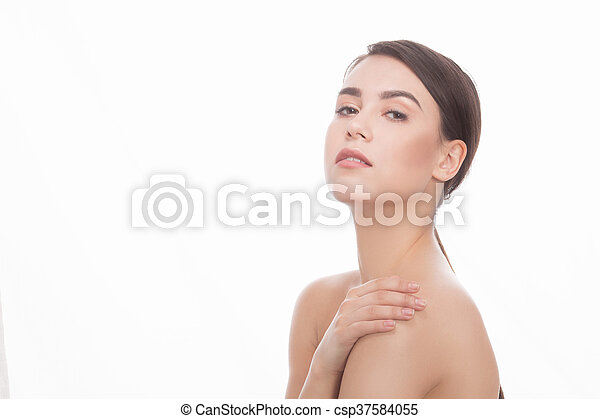 Shirtless lady over white background - csp37584055