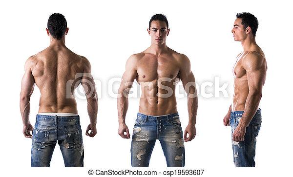 shirtless, lato, indietro, triplo, fronte, bodybuilder:, vista - csp19593607