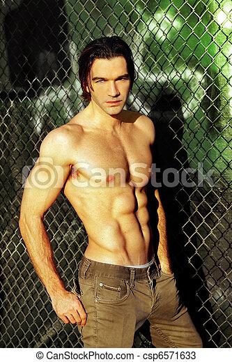 Shirtless male fashion model - csp6571633